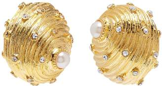Kenneth Jay Lane Glass crystal pearl seashell shaped clip earrings