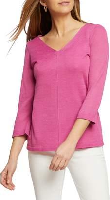 Nic+Zoe Tie Back Linen Blend Knit Top