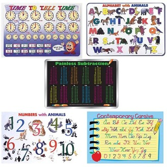 Painless Learning Bundle of 5 Laminated Plastic Placemats for Kids - Time to Tell Time, Alphabet with Animals, Subtraction Tables, Numbers with Animals, Contemporary Cursive
