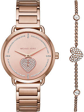 Michael Kors MK3827 Women's Portia Bracelet Strap Watch And Heart Chain Bracelet Gift Set, Rose Gold