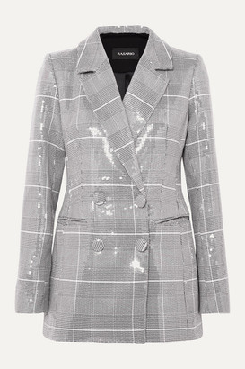 Rasario Double-breasted Checked Sequined Tweed Blazer - Gray