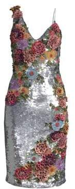 Alice + Olivia Francie Floral-Embroidered Sheath Dress
