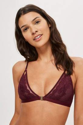 Lace and mesh triangle bra
