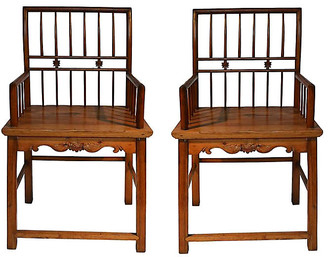 One Kings Lane Vintage Antique Chinese Elm Wood Chairs - Set of 2 - FEA Home