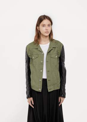 Junya Watanabe Synthetic Leather Sleeve Jacket Green Black