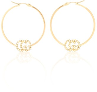 Gucci GG Running 18kt gold hoop earrings with diamonds