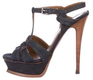 Saint Laurent Denim Tribute Sandals