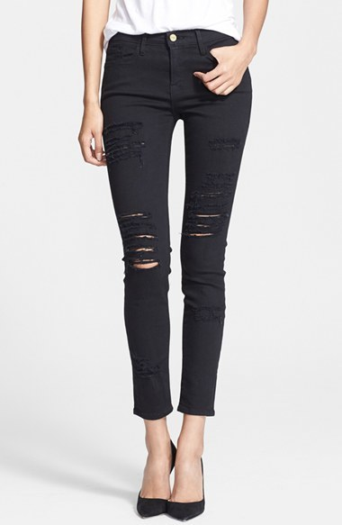Women's Frame Le Color Rip Skinny Jeans