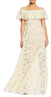 Dress the Population Reese Off-Shoulder Lace Ruffle Gown