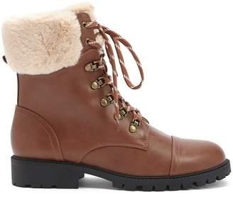 Forever 21 Faux Fur-Trim Combat Boots