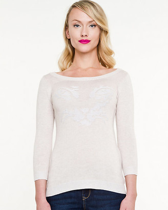 Le Château Cat Print Scoop Neck Sweater