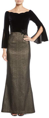 Rickie Freeman For Teri Jon Velvet Bell-Sleeve Gown w/ Metallic Skirt