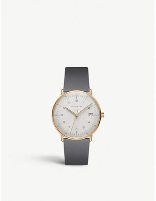 Junghans 027/7806.00 Max Bill Automatic gold-plated and leather strap watch