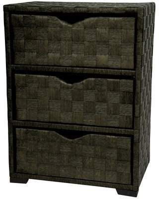 Oriental Furniture Unique Simple Inexpensive Affordable Great Quality, 25-Inch 3 Drawer Natural Fiber Wicker Style End Table Nightstand Cabinet Chest