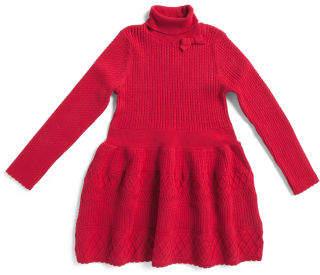 Toddler Girls Textured Turtleneck Sweater Dress
