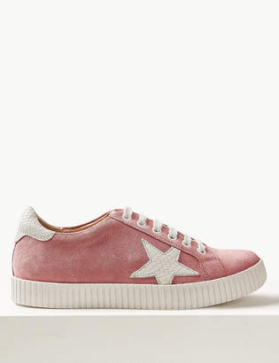 Marks and Spencer Wide Fit Suede Lace-up Trainers