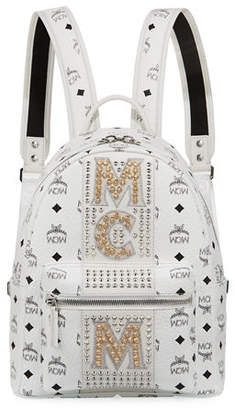 MCM Stark Stripe Crystal Studs Backpack