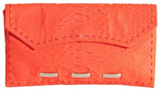 Nada Sawaya neon orange python 'C' clutch