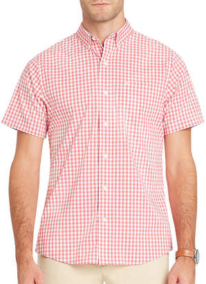 Izod Short Sleeve Gingham Button-Front Shirt
