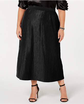 NY Collection Plus Size Pleated Velvet Skirt