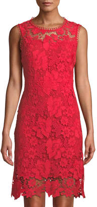 T Tahari Sleeveless Floral Lace A-Line Dress
