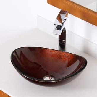 Elite Hand Painted Glass Oval Vessel Bathroom Sink Sink