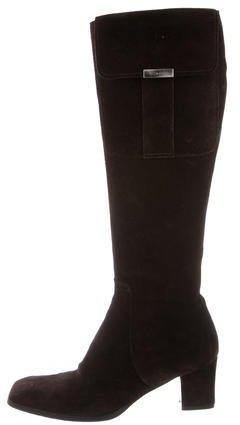 Saint LaurentYves Saint Laurent Suede Knee-High Boots
