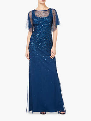 Adrianna Papell Plus Size Beaded Tulle Maxi Dress, Deep Blue