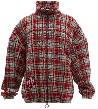 Off-White Off White Plaid Zip Through Fleece Jacket - Mens - Red Multi