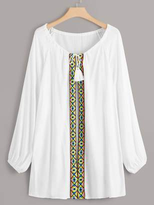Shein Plus Tribal Trim Long Sleeve Kimono