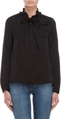 Vero Moda Black Ruffle Tie-Neck Shirt