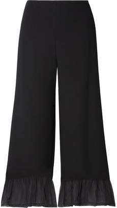 See by Chloe Silk Chiffon-trimmed Crepe Wide-leg Pants - Black