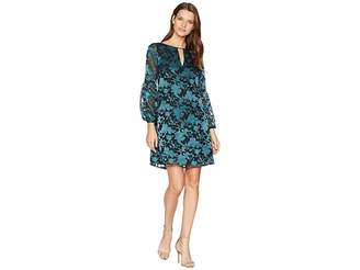 Vince Camuto Novelty Puff Sleeve Shift with Keyhole