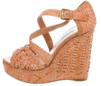 Prada Woven Leather Wedge Sandals gold Woven Leather Wedge Sandals