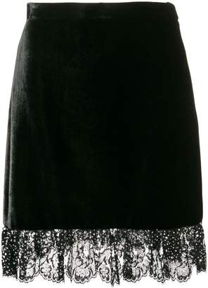 Miu Miu lace-trimmed velvet mini skirt