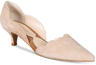 Adrienne Vittadini Serene Scalloped Kitten-Heel Pumps Women's Shoes $99 thestylecure.com