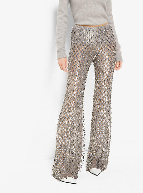 Michael Kors Metallic-Embroidered Stretch-Tulle Trousers
