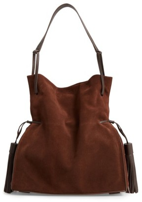 Allsaints 'Freedom' Suede Hobo - Brown $328 thestylecure.com