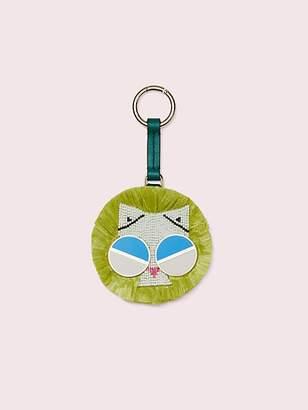 Kate Spade Spademals Raffia Smitten Kitten Dangle Keychain, Kale