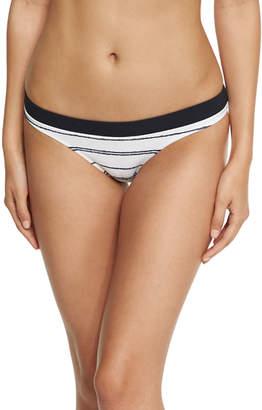 Nassau Striped Hipster Swim Bikini Bottom, White
