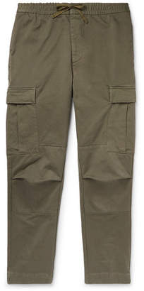 Officine Generale Slim-fit Garment-dyed Cotton-twill Drawstring Cargo Trousers - Green