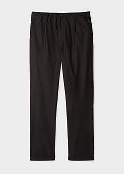 Paul Smith Men's Black Wool And Cotton-Blend Trousers With Elasticated Waist