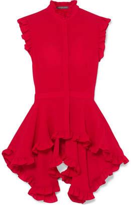 Alexander McQueen Ruffled Silk Crepe De Chine Peplum Blouse - Red