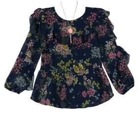 Ally B Girl's Floral Chiffon Blouse with Necklace