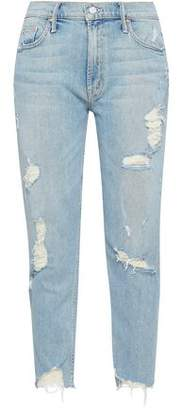 Mother Distressed High-Rise Kick-Flare Jeans