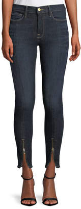Frame Le High Skinny Split Zip-Hem Ankle Jeans