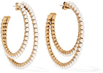 Marc Jacobs - Gold-plated Faux Pearl Hoop Earrings $175 thestylecure.com