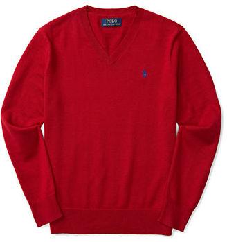 Ralph Lauren Premium Cotton V-Neck Pullover Sweater, Size 2-7 $59.50 thestylecure.com