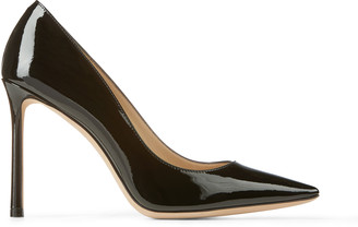 Jimmy Choo ROMY 100 Black Patent Leather Pointy Toe Pumps