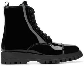 Prada varnish lace up boots